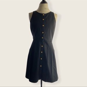 Armani Exchange Flowy Black Button Up Pocket Dress